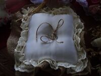 hessian, silk and lace ring cushion