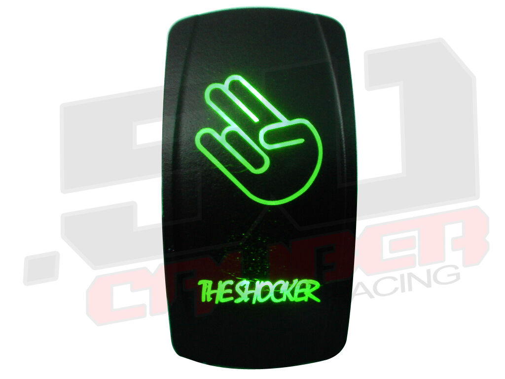 Green Led Light Rocker Switch Marine Boat Driving Fog Power Supply ON OFF Speed