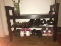 2 shelf shoe rack with handles and bench top
