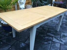 Dove Grey & Oak Top - Extending Dining Table - New / Unmarked