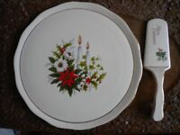 Crown Derby Christmas gateaux dish and slice