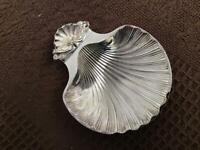 Bon Bon Scolloped dish metal and plated in good condition measures 6ins by 7 in.
