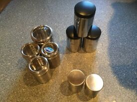 9 stainless steel kitchen storage containers, 3 being BRABANTIA. DISHWASHER SAFE & IMMACULATE.