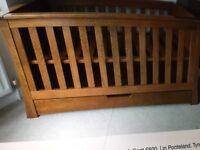 Mamas & Papas oak Cot, Drawers and wall unit