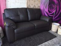 New Brown Leather 3 Seater Sofa Delivery Available