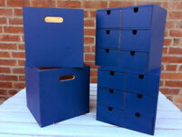 IKEA Wooden storage boxes painted in Blue - ideal for childrens toys and collectibles