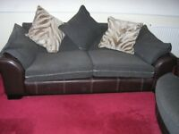 2x QUALITY DFS LEATHER SOFAS +CUSHIONS, EXC, DOWNSIZING, RING 07716966397 FOR ALL MORE INFO