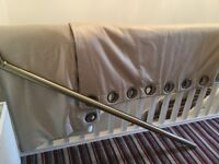 Luxurious handmade living room curtains and matching pole in excellent condition