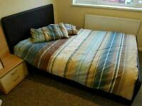 Double bed brown leather with mattress including