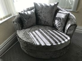 Silver crush velvet sofa set