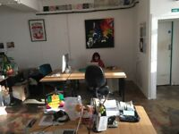 desk space to rent in light filled Hackney creative office