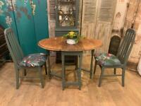 Shabby chic vintage oak gate leg dining table with 2 chairs – safe doorstep delivery