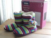 TOTES Stripe Knit Booties MULTI COLOURED size M 38-39 EUR BOXED slippers