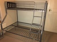 Bunk bed : single over double metal frame