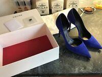 Designer Celine Paris Blue Suede Sapphire Pointed Heels uk6 eu39 rp£450