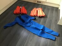 Wetsuit and lifejackets