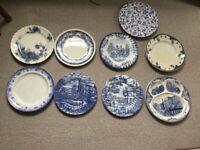 Vintage & modern blue & white dinner plates 50p each