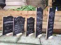 5 Small free standing chalk boards used for wedding table descriptions DIY wedding homemade style