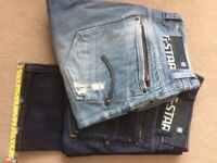 """Gstar 32""""waist darkwash and blastwash jeans"""