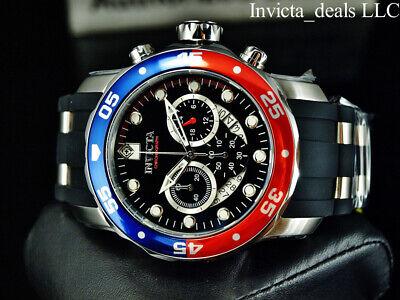 Invicta Men's 48mm PRO DIVER SCUBA Chronograph Black Dial Red & Blue Bezel Watch