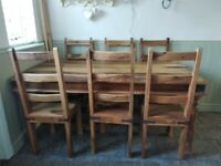 Beautiful top quality solid wood table and six chairs, cost £2000 new