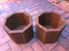 2 x Octagon wooden plant pots made from treated decking