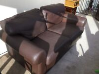 Brown leather 2 seat sofa & armchair
