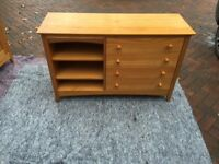 Small pine book case and draws