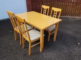 Light Wood Veneer Table 120cm & 4 Chairs FREE DELIVERY 471