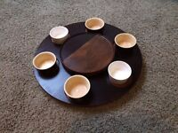 Wooden rotating turntable serving plate for the dining table