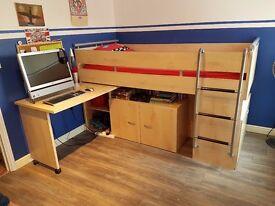Single Cabin Bed with Swivel Desk Cubboard & Drawers 012