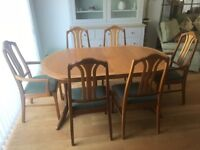 Nathan Classic Teak Oval Extending Dining Table with 6 Chairs - As new.