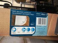 Brand New Aqualux White Acrylic Quadrant Shower Tray