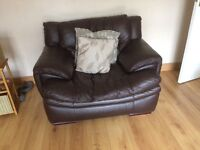 Dfs brown leather 3 seater sofa and matching chair