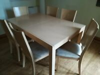 Light Teak effect Kitchen/Dining Table with 6 matching Chairs.