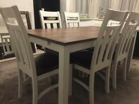 Shabby Chic - Solid Wood Table and 6 Chairs