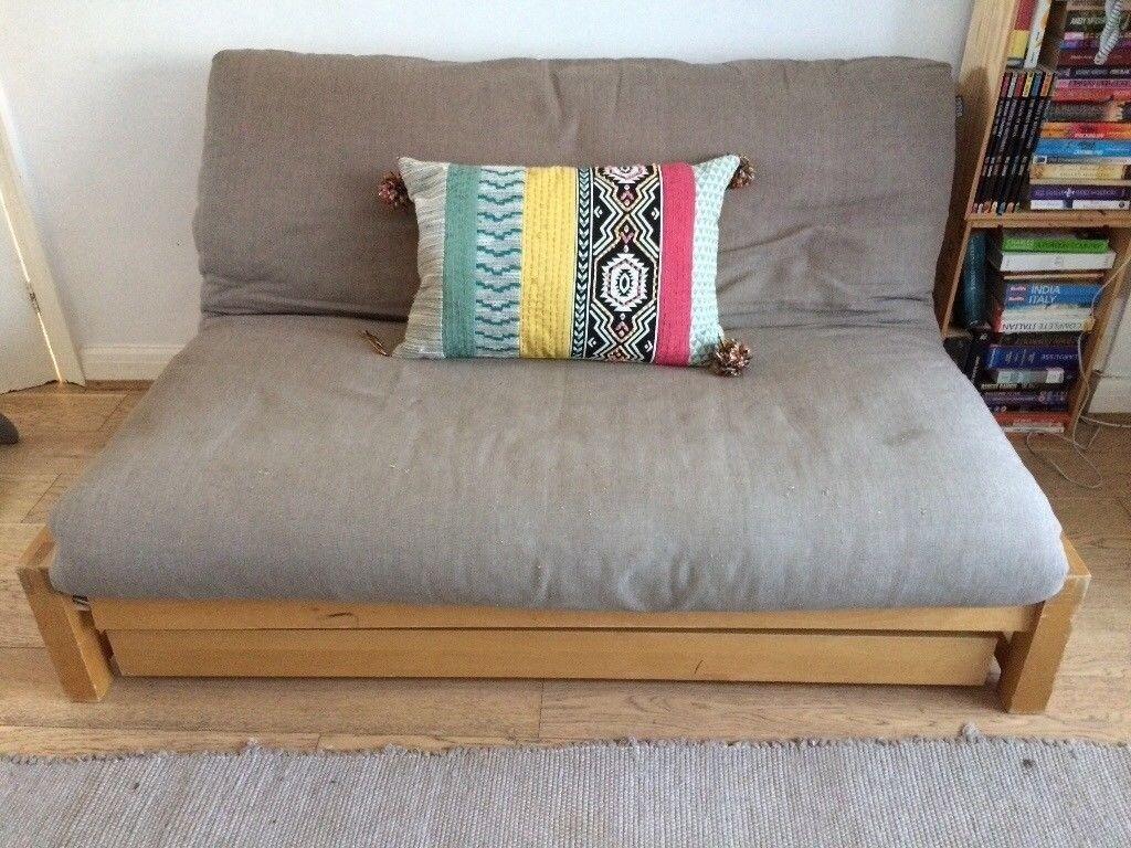 Futon Company Double Sofa Bed Linear 2 Seater Birch