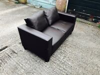 Faux Leather Brown Two Seater Sofa, Classic VERY GOOD CONDITION