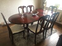 Mahogany extending dining table & 6 chairs