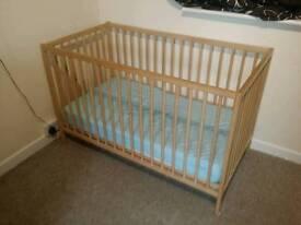Cot bed and mattress, good shape.
