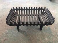 Black cast iron log fire rack holder stand