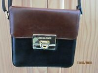 Block style black & cherry brown Italian leather handbag by Luisa dal Ponte