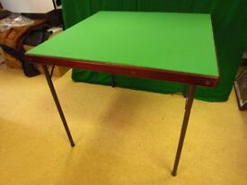High quality Bridge Card table with mahogany surround top & sturdy tubular metal folding legs