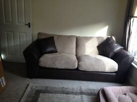 Brown leather and cord sofa with cushions