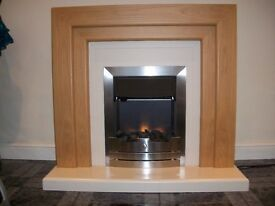 Electric Fireplace with Natural Honey Surround