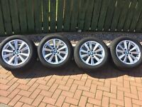 "BMW 17"" alloys and almost new run flat tyres"
