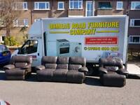 Fully reclining brown leather 3+1+1 sofa