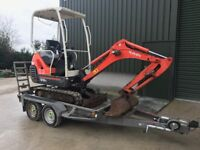 Mini Digger trailer 2600kg, Also ideal for Quads, Ride on Lawnmowers and other plant