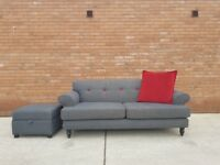Grey DFS 3 Seater Sofa & Footstool