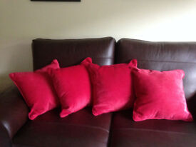 NEXT red velour cushions